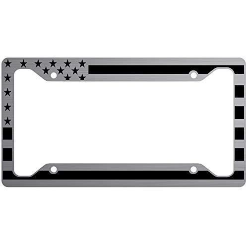 (JASS GRAPHIX American Flag License Plate Frame Matte Black on Brushed Aluminum Composite)