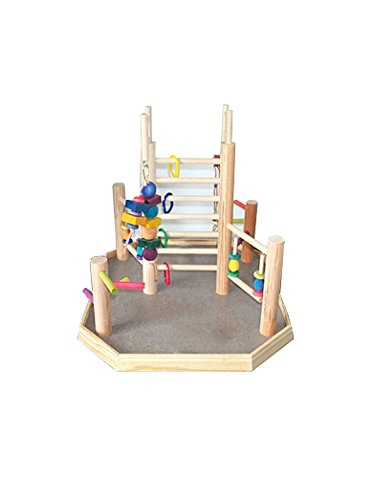 BirdsComfort Bird Gyms Parakeet Wood Table Top Playstation for Parakeets - Base: 22'' x 21'' , Overall Height: 22'' - 1 level by Bird Gyms