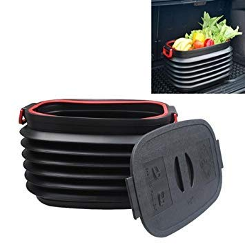 Uniqus 37L Car Collapsible Plastic Organizer Bin with Lid for Camping and Outdoor