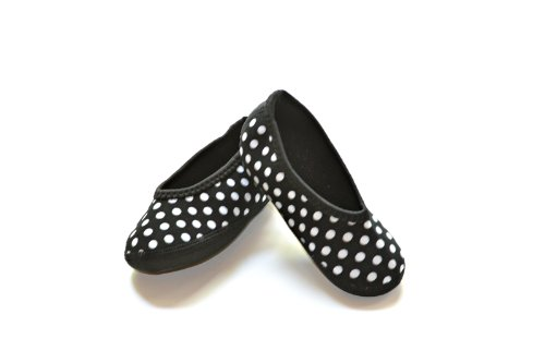 - Nufoot Indoor Toddler Shoes Ballet Flat, Black with White Polka Dots, Size 9T- 12T 2 Count