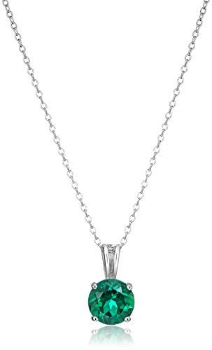 Amazon Essentials Sterling Silver Round Cut Created Emerald Birthstone Pendant Necklace (May), 18