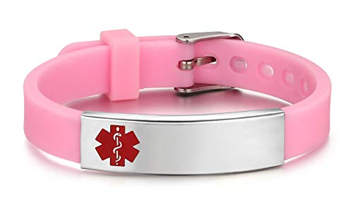 JF.JEWELRY Medical ID Alert Bracelet for Kids with Medical Silicone Band-Pink Adjustable, Free...