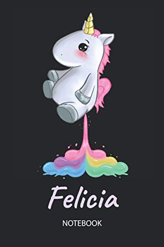 Felicia - Notebook: Blank Ruled Personalized & Customized Name Rainbow Farting Unicorn School Notebook Journal for Girls & Women. Funny Unicorn Desk ... Birthday & Christmas Gift for Women.