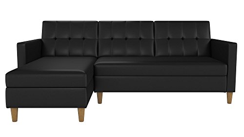 DHP Hartford Storage Sectional Futon with Interchangeable Chaise and Storage Ottoman, Space-saving Design, Opens to Queen Bed, Wooden Legs, Black Faux Leather