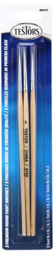 Testors Premium 3-Pack Round Sable Paint Brushes, Colors Vary