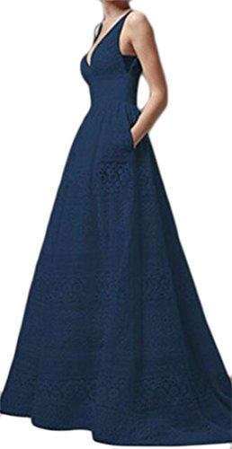 Taille Cruiize Femmes Manches En Dentelle Haut Col En V Plissé Robe Maxi Une Ligne Bleu Foncé