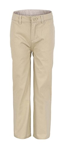 Bienzoe Boy's School Uniforms Flat Front Cotton Twill Adjust Waist Pants