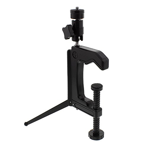 Albinar Heavy Duty C-Clamp Vise Tabletop Clamp and Tripod With Double Ball Head for Slave Flash, Cameras Camcorders
