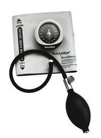 Welch Allyn DS45-12CB DuraShock Model DS45 Pocket Aneroid Sphygmomanometer with Integrated Gauge Adapter, Reusable, Premium Inflation Bulb and Valve, 2-Tube Cuff and Bladder, Size-12, Large, Adult