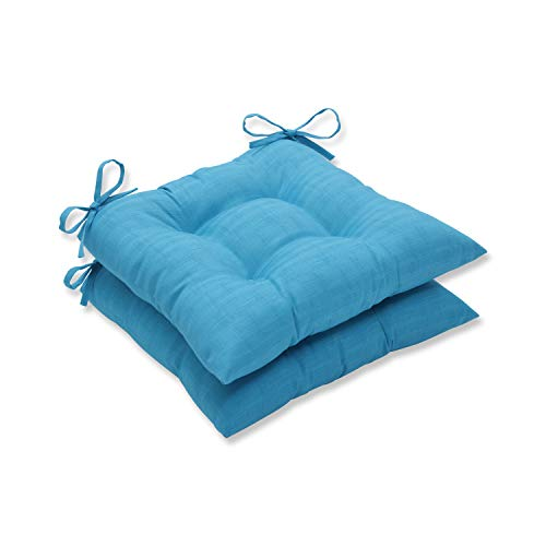 Pillow Perfect Outdoor Veranda Turquoise Wrought Iron Seat Cushion, Set of 2 For Sale