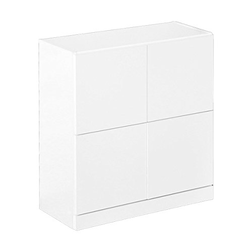 シンプルで高級感のあるスクエアキャビネット 4枚扉タイプ ホワイト(汚れに強い美しい鏡面仕上げ) B01MTB2PLR 4枚扉 ホワイト ホワイト 4枚扉