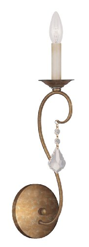 (Livex Lighting 6421-48 Chesterfield and Pennington 1 Light Wall Sconce, Antique Gold Leaf)