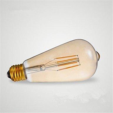 ZQ 4w e27 ST64 vendimia vendimia vendimia llevó la bombilla de filamento bombillas de bajo consumo 4W LED-40W equivalente (220-240V) , warm Blanco 4b87b5