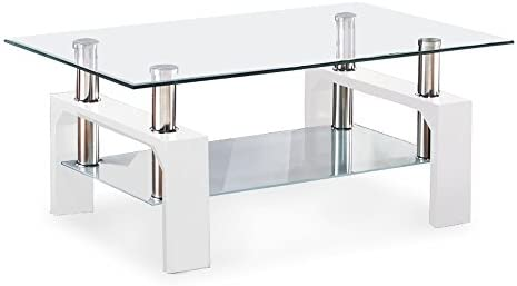 home, kitchen, furniture, living room furniture, tables,  coffee tables 12 on sale SUNCOO Coffee Table Glass Top with Shelves Home deals