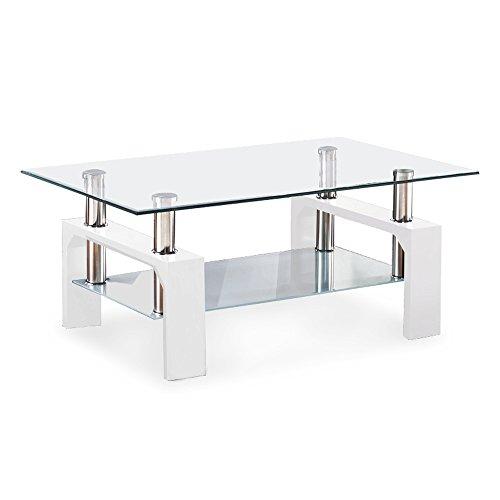 VIRREA Rectangular Glass Coffee Table Shelf Wood Living Room Furniture  Chrome Base (White)