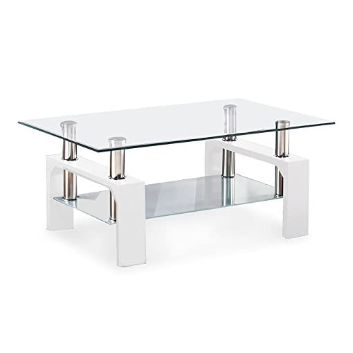Living Room Mecor Rectangle Glass Coffee Table-White Modern Side Coffee Table with Lower Shelf Metal Legs-Suit for Living Room modern coffee tables