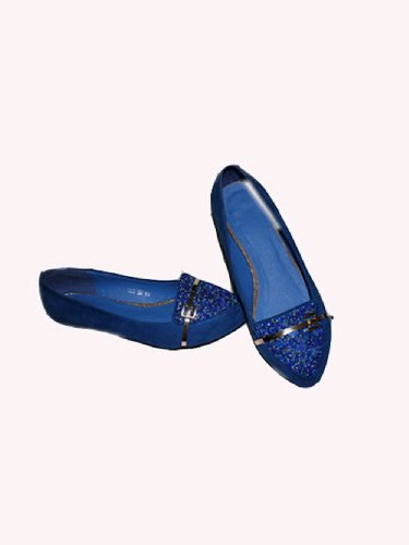 Toe Heels WeenFashion Rhinestone Frosting Women's Color with Pointed Solid Low Pumps Blue Wedge gHAHfRn