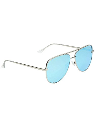Quay Eyewear Unisex-Erwachsene Sonnenbrille High Key, Silber (Silver/Blue), 150