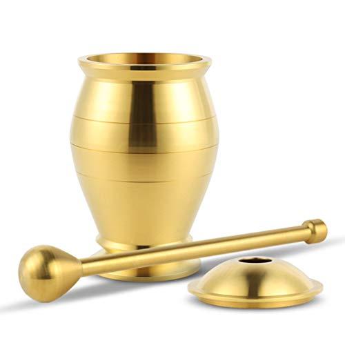 Brass Mortar Pestle Set Spice Herb Grinder Pill Crusher Dishwasher Safe by Cooler Kitchen
