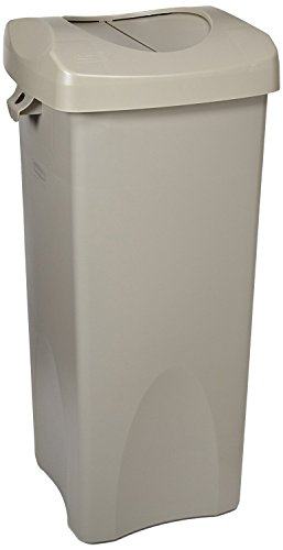Rubbermaid Commercial Products Untouchable Square Trash/Garbage Container with Lid, Gray (2001584)