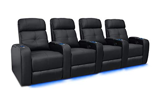 (Valencia Verona Premium Top Grain 9000 Leather Power Recliner LED Lighting Home Theater Seating (Row of 4, Black))