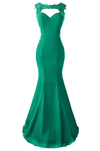 Topdress Women's Mermaid Prom Dress Lace Appliques Sheer Back Evening Gowns Green US ()