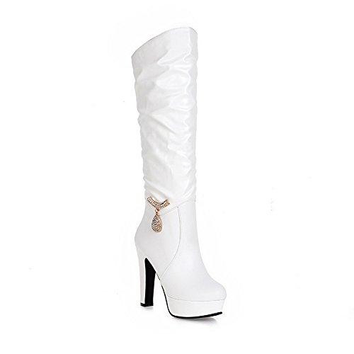 imitado Plataforma AdeeSu de Tacones de Blanco Botas metal Ornamento Girls gruesos cuero rq0wUYq7