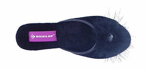 Pantoufles Femme à Talon Velours compensé en Dunlop pour Noir Adw0Sx