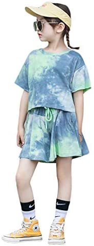 Rolanko Girls Tie-dye Outfit 2 Pieces Short Sleeve Crop Top T-Shirt and Shorts for Kids Summer Clothes Set