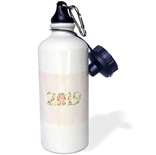 3dRose Beverly Turner Chinese New Year Design - Flowered 2019 with Pink Pig on Zero, Pink Wood Look, Chinese New Year - 21 oz Sports Water Bottle (wb_287013_1) (Flowered Pig)