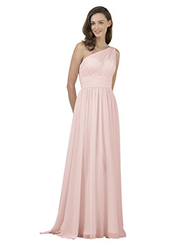 (Alicepub One Shoulder Bridesmaid Dress for Women Long Evening Party Gown Maxi, Pearl Pink,)