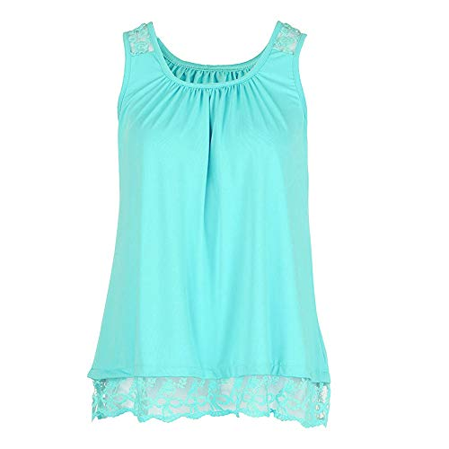 Lovor Women's Plus Size Summer Solid Round Neck Sleeveles Camisole Shirt Lace Vest Versatile Loose Tank Tops Blouse(Green,S) ()