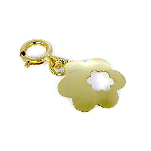 Charm Fleur Ciselée en Or Jaune 9 Carats avec Mousqueton
