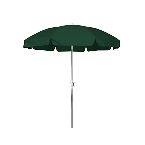 California Umbrella 7.5' Round Aluminum Patio Umbrella with Valance, Crank Lift, 3-Way Tilt, Silver Pole, Hunter Green Olefin