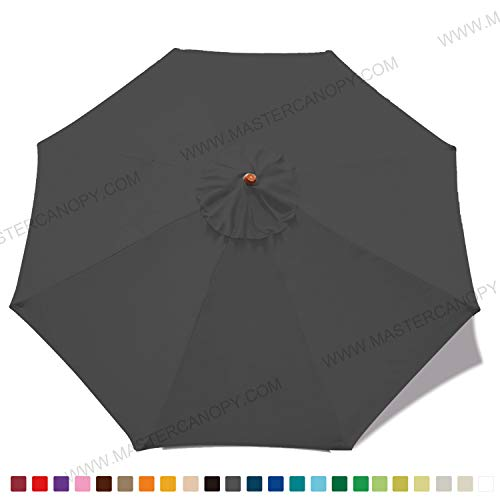 MASTERCANOPY (30+ Colors) 9ft Market Round Umbrella Adjustment Replacement Canopy 8 Ribs(Canopy Only) (Dark Grey)