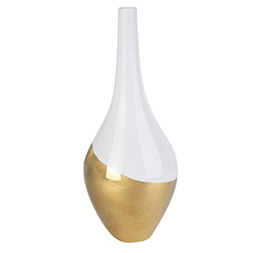 A&B Home Kathy Ireland, 4.5 by 11-Inch Elegant Evening Vase, Gold Dip