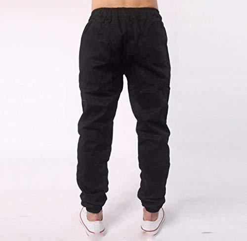 Haidean Uomo Casual Strappati Nero Moderna Pantaloni Lunghi Jeans Da Aderenti Skinny Slim fqxr1UfO