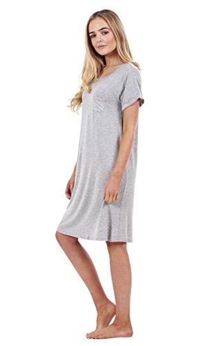Camisón suave y sencillo de manga corta para mujer Gris