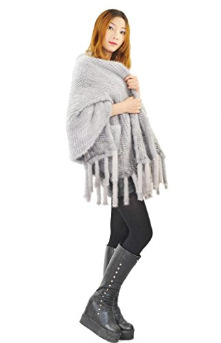 CX FUR Women's Hand Knitted Genuine Mink Fur Shawl,Natural Blue