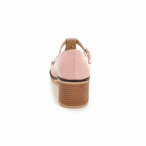 MissSaSa Damen Chunky heel T-Spange runde Spitze Pumps Pink