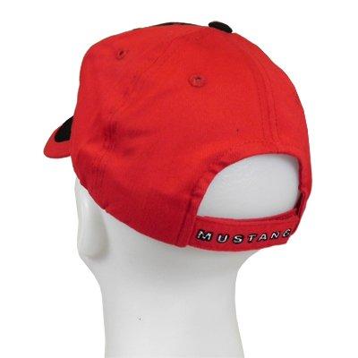 Mustang Running Horse Tri-Bar Black Red Stripe Baseball Cap CFS