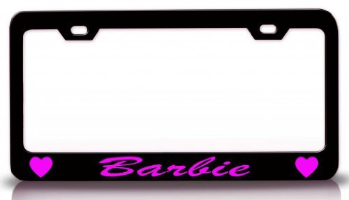Outs Cut Wall Barbie (Saniwa License Plate Covers Barbie With Hearts Steel Metal License Plate Frame Bl. # 19)