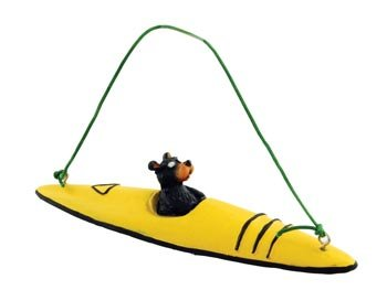 Bear Kayaking Kayak Figure Collectible Ornament, 4-inch, Tree Decoration, Yellow or Red ()