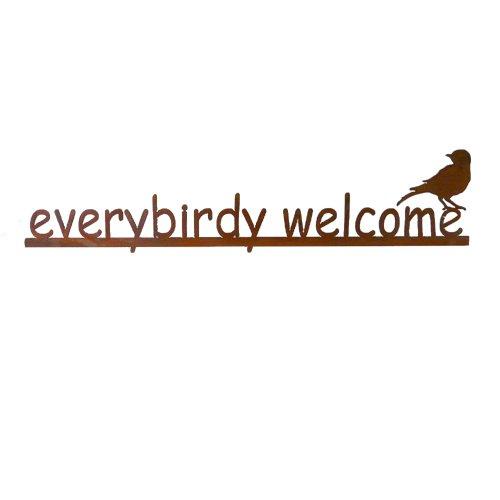 - Modern Artisans Everybirdy Welcome - Rust Metal Garden Wall Art Sign, American Made