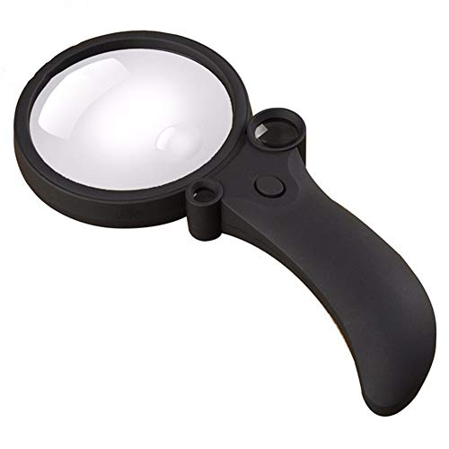 Portable Handheld Magnifier with LED and UV Lamp, Acrylic Lens 2.5X 25x 55x, Lightweight, Battery-Powered Magnifier, Curved Handle Magnifying ()