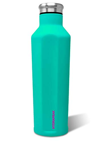 Hydrapeak Grippy Water Bottle Vacuum Insulated Double Wall Stainless Steel Triple Insulated Anti-Slip Coated Thermos (Turquoise, 25oz)