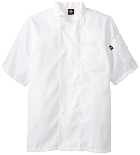 Coat Spun Chef Polyester - Dickies Occupational Workwear DCP124WHT XS Spun Polyester 8-Button Short Sleeve Chef Coat with Reversible Closure, X-Small, White