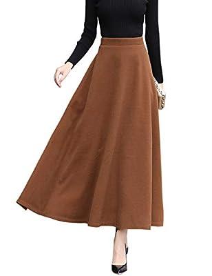 Jenkoon Women's Woolen High Waist A-line Flared Long Skirt Winter Fall Skirt