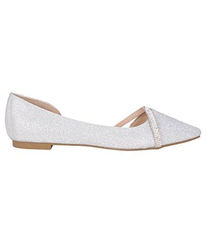 KRISP Damen Lurex Ballerinas Flache Schuhe mit Perlen & Strass Silber (17006)