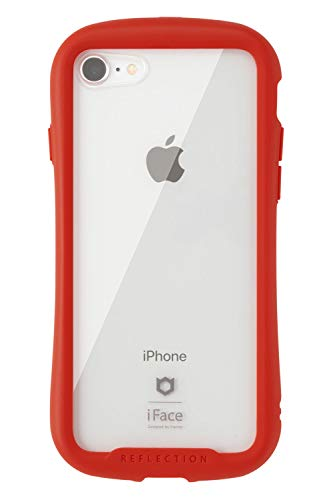 iFace Reflection iPhone8/7 ケース クリア 強化ガラス [レッド]